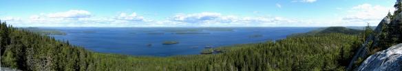 Sjön Pielisjärvi sedd från en höjd i Koli nationalpark.